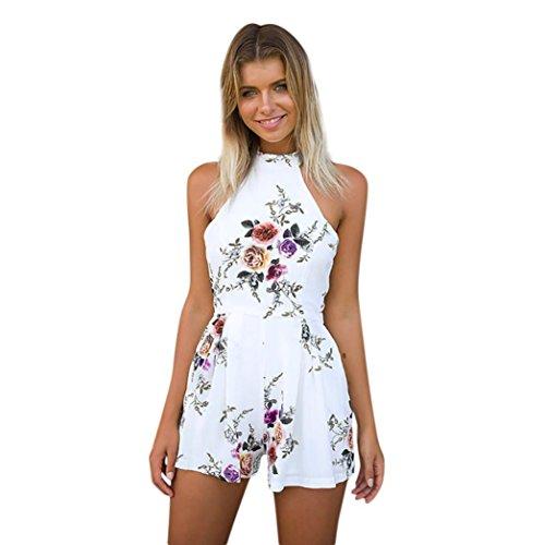 ESAILQ Damen Sommer Jumpsuit Elegant Blumen Floral Shulterfrei Klied Playsuit Chiffon Overall Romper mit Rüschen Weiß(M,Weiß) -