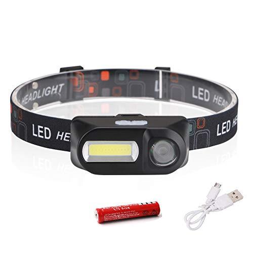 Ebestus Lampade da Testa Torcia Frontale, Lampada Frontale LED COB 6 Modalità Escursionismo Campeggio Faro Torcia elettrica Lampada - con Batteria