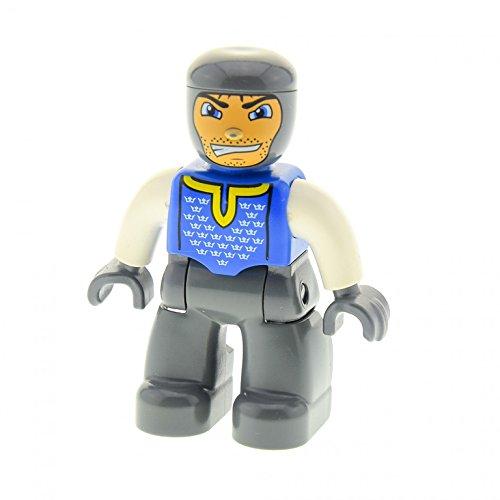 1 x Lego Duplo Figur Mann Ritter Hose neu-dunkel grau Brust blau Kronen Arme weiss Hände grau Grinsen für Burg Castle Set 4864 4863 47394pb020