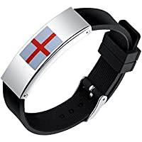 Hemore England Flag Wristband - German Silicone Bracelet Fit Men and Women For 2018 World Cup FIFA World Cup Sports Fans Supporting