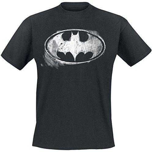 Batman Logo Mono Distressed Camiseta Negro XL