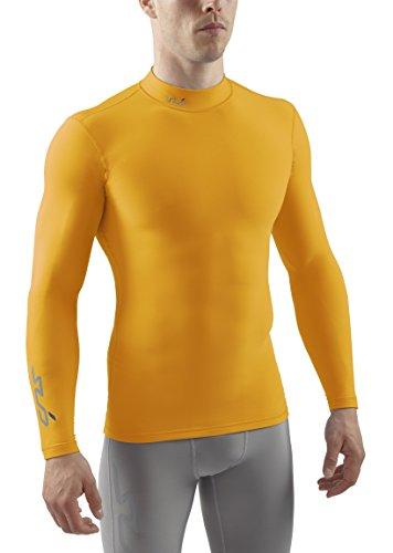 Sub Sports Herren Cold Kompressionsshirt Thermisch Funktionswäsche Base Layer Langarm Mock Stehkragen, Gelb, M -