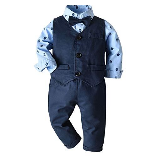 CARETOO Baby-Jungen Bekleidungssets Strampler Kleidung Set Taufkleidung Anzug Set Langarm Hemd+Hose Krawatte Gentleman Suit Baumwolle für Weihnachten Hochzeitsfest
