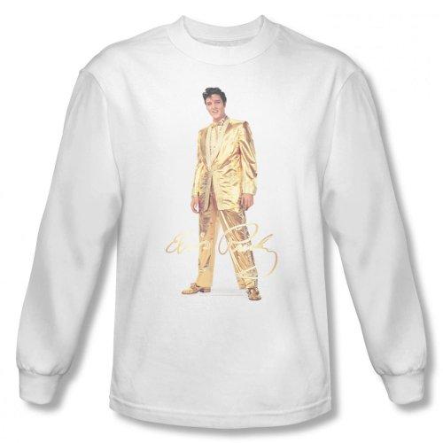 Elvis Presley - Herren Gold Lame Suit Langarm-Shirt In Weiß, XX-Large, White (Lame Sleeve Long)