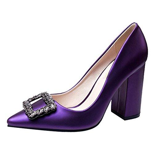 YR-R Lady Rough-Heels Mit Hohen Absätzen Arbeitsschuhe Flacher Mund Square Schnalle Strass Damenschuhe Spitze Pumps Für OL Office-Hochzeit,Purple-EU:34/UK:2 (Schnalle Spitze)