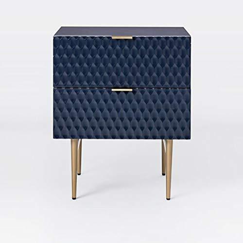 LRZS Einfache Moderne Amerikanische Schlafzimmer Massivholz IKEA Kreative  Schwarz INS Licht Luxus Nachttisch Schrank (Farbe : Blau)