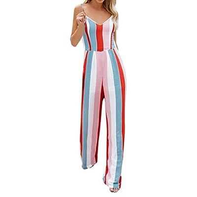 Damen Jumpsuit cinnamou Frauen Multicolor Stripe Jumpsuits rückenfreie Bogen Knoten Cami Playsuits Sommer Overall Clubwear, V-Ausschnitt, ärmellos