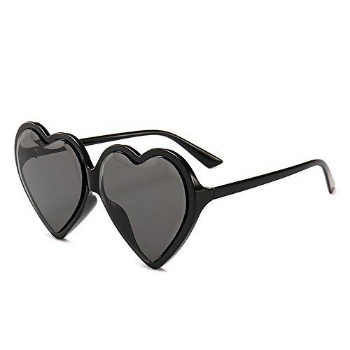 GWF Übergroße Herzform Farbige Linse Damen UV-Schutz Sonnenbrille für Frauen im Freien Fahren Reisen (Farbe : C1)