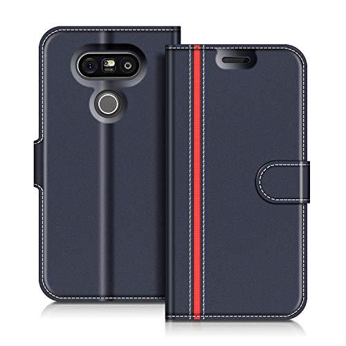 COODIO LG G5 Hülle Leder Lederhülle Ledertasche Wallet Handyhülle Tasche Schutzhülle mit Magnetverschluss/Kartenfächer für LG G5, Dunkel Blau/Rot