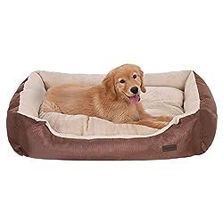 FEANDREA Hundebett, Hundekorb mit Wendekissen, Hundesofa, Hundematte, gemütlich, atmungsaktiv, erhöhter Rand, 90x70x 21 cm, für Hunde bis 30 kg, braun PGW04Z