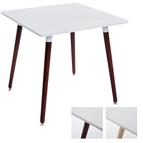 CLP Table à manger BENTE, carrée, 4 pieds en bois, 80 x 80 cm, design, avec protège-sol Plateau: blanc / piètement cappuccino