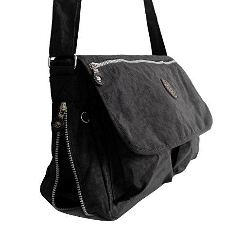 Bag Street borsa a tracolla borsa a tracolla per le vacanze Sport ricreativo e scuola in nylon resistente plastica in formato DIN A4–presenta da ZMOKA® in diversi stili Colori, marrone (marrone) - 0 nero