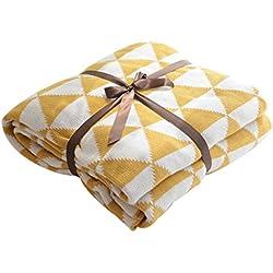 MYLUNE HOME 100% Coton Couverture tricot mérinos élégante de luxe pour regarder la télévision ou la selle sur chaise, canapé et lit,Double face Couvertures 130*160cm (yellow)