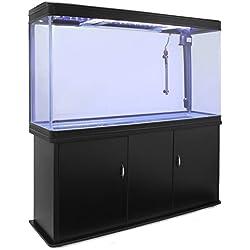 MonsterShop - Aquarium à Bords Noir de 300 litres, Meuble de Support Noir, d'Une Dimension Totale de 143,5 cm de Haut x 120,5 cm de Large x 39 cm de Profondeur