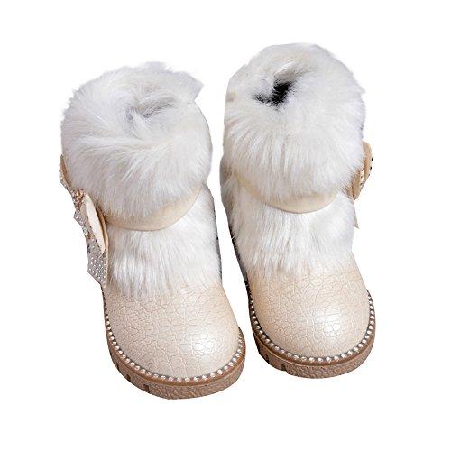 Baby Mädchen Schneestiefel Kleinkind Warm Halten Kaninchen Schneestiefel Weiche Sohlen Schuhe rutschen flache Stiefel Schwarz Rosa (Schnee Weiße Boots)
