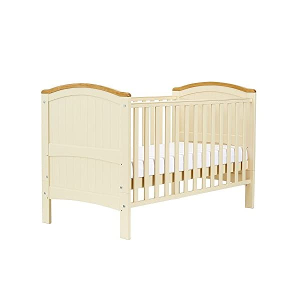 Henley Cotbed Cream East Coast Nursery Ltd 3 base heights 2 teething rails 2 fixed sides 1