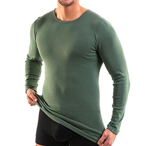 HERMKO 3640 2er Pack Herren Langarm Shirt (Weitere Farben), Größe:D 6 = EU L, Farbe:Olive