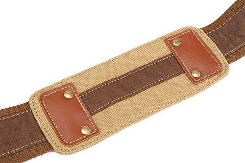 Sulandy - Borsa a tracolla, in tela, stile vintage, grande, unisex, bordi in pelle, per scuola, militari, army green(medium), L khaki(camera bag )