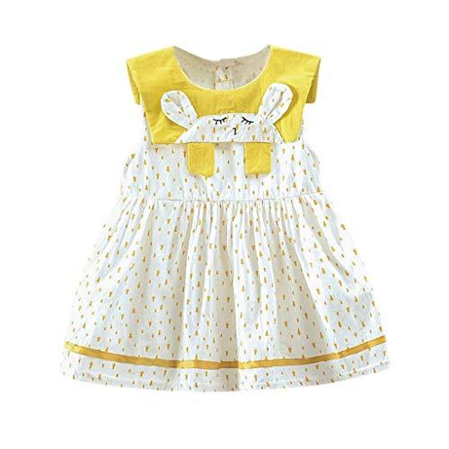 Kleid Punkt gedruckte Karikatur-Häschen Drucken Strandkleid Kleinkind Urlaub Sommer Prinzessin Kleidung Outfit ()