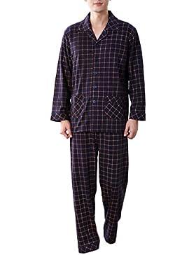 Amhillras Pijamas Ropa de dormir larga 100% Algodón Pijama de hombre