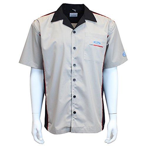 David Carey Ford Performance Pit Crew Shirt - Grau & Schwarz - Knopfleiste Kragen Kurzarm Mechanic Camp/Club Shirt - Mehrfarbig - Groß - Club-camp-shirt