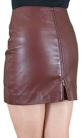 Ashwood Very Soft Genuine Leather Short Fitted Mini Skirt with Full Length Back Zip Opening - Length 15in (Burgundy, Waist 26in)