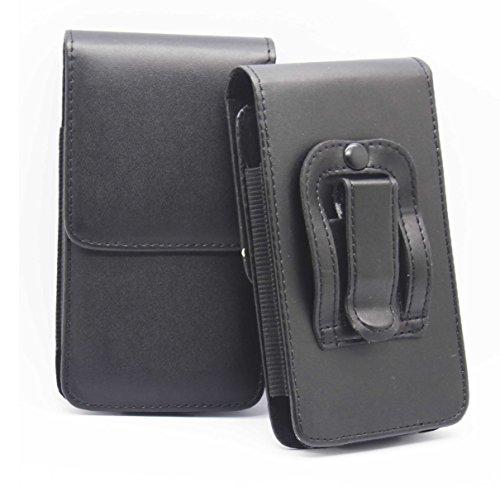 Schwarz / Black Samsung Galaxy J1 SM-J100 Gürteltasche Handy Holster mit magnetischem Verschluss aus PU-Leder Schützhülle Cover mit sicherem Gürtelclip von Gadget Giant®