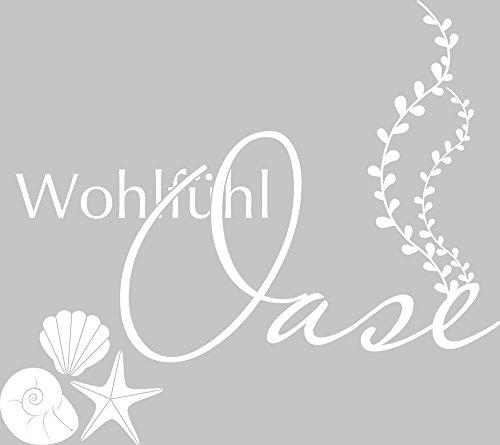 GRAZDesign 650145 Wandtattoo Wohlfühl-Oase/Muscheln – Fliesen-Tattoo-Aufkleber für Badezimmer/WC / Kosmetikstudio