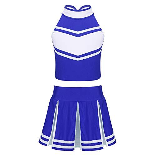 Cheerleader Set Kostüm - ranrann Mädchen Cheerleaderin Kostüm Kinder Cheerleaderin Uniform Crop Top mit Faltenrock Outfit Set Party Karneval Fasching Halloween Kostüm 6-14 Jahre Blau 164/14Jahre