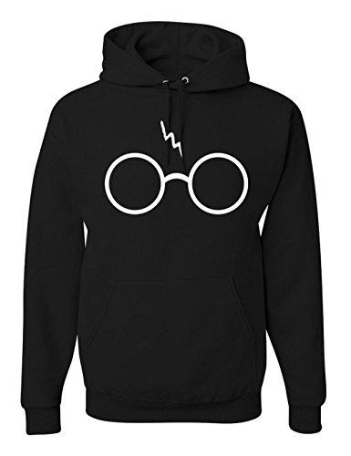 Kapuzenpullover Damen Pagacat Harry Potter Blitz Gläser Gedruckt Sweatshirt Langarm Hoodie Schwarz