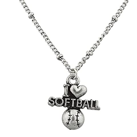 Lux Accessories Burnish Silver I Love Softball Sports Fan Charm Pendant Necklace