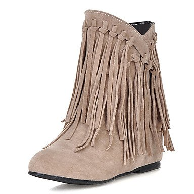 JOE Bottes femmes bottes de neige l'hiver / Round Toe robe Wedge talon Tassel noir / marron / jaune / Beige d'autres BEIGE