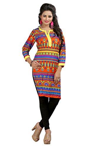 Janasya Women's Multicolor Printed Kurtis (KR6067-Multi-S)
