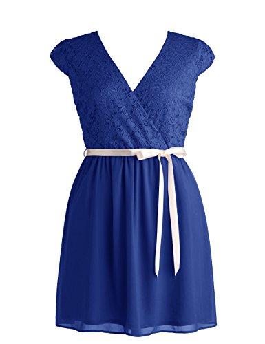 Dressystar Robe de demoiselle d'honneur/de soirée courte avec une Ceinture en dentelle Bleu Saphir
