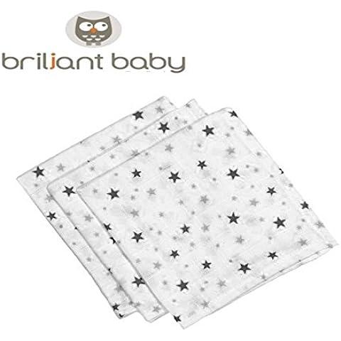 BriljantBaby Hydro de Luxe ** Teli in cotone per neonato ** ideali per il cambio, morbidi e soffici, da maschietto -- confezione da 3 - Guanti In Pelle Di Cambio