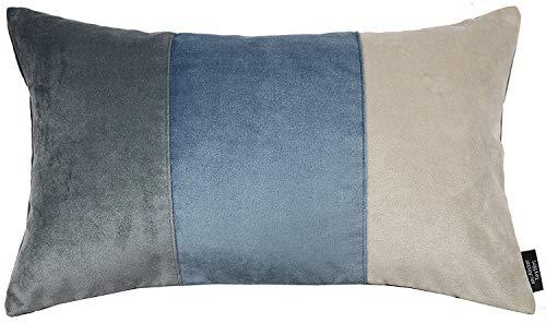 McAlister Textiles Matter Samt | Sofakissen mit Füllung dreifarbiges Patchwork in Anthrazit & Petrol Blau & Gold | 50 x 30cm | griffester weicher Samt | gefülltes Deko Kissen für Couch, Sofa -