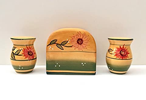 Tuscany Kitchen Yellow Country Sunflower, Hand Painted Ceramic Napkin Holder, Salt & Pepper shaker Set, 82928-1 by ACK