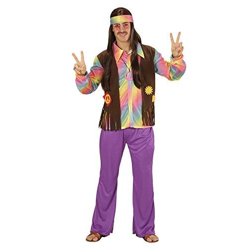 WIDMANN 73341–Disfraz Adulto Hippie Hombre, Camiseta, Chaleco angenähte, Pantalones y Cinta, Lila, tamaño S