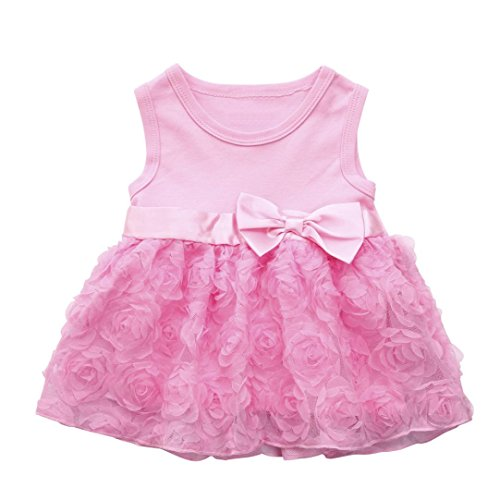 Prinzessin Kleid,Binggong Baby Mädchen Infant Blumenspitze Geburtstag Tutu Bow Kleidung Party Prinzessin Kleid Ärmelloser Blumenbogen Flauschiges Kleid Abendkleid Mode (3M, Rosa) (Halloween Kostüm Partei Ideen)