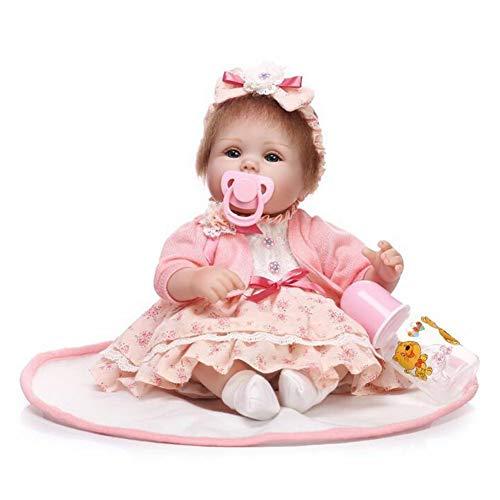 Handgefertigte Realistische Wiedergeborene Baby Puppen Simulation Girl Real Life Gefälschte Babys Mit Niedlichen Kleid Auge Für Valentinstag Geöffnet/Xmas Geschenk Kinder Spielen Spielzeug 16.5 Zoll HOJZ (Real Girl Puppe)