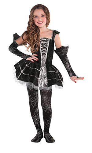 Fancy Me Mädchen Schwarz Silber Mitternachts Spinnennetz Halloween Kostüm Kleid Outfit 4-10 Jahre - 8-10 Years