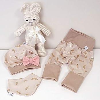 ANGEBOT Set – Hose, Schleifenmütze, Halstuch – Beige Federn Gold (Beige) Schleife Rose Baby Mädchen