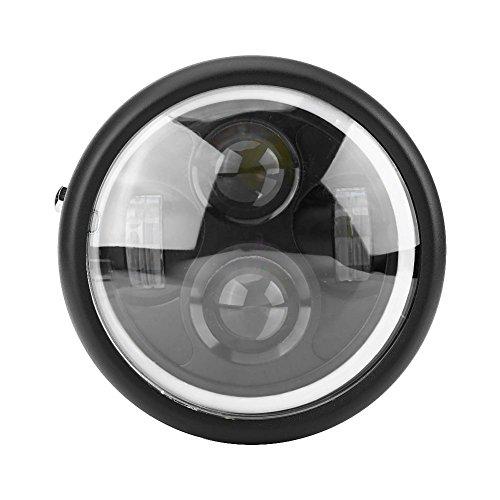 Qiilu QL04156 Universale 6.5 '' Faro Anteriore Lampada Moto LED Luce Anabbaglianti Bianco per Harley Sportster Cafe Racer Bobb