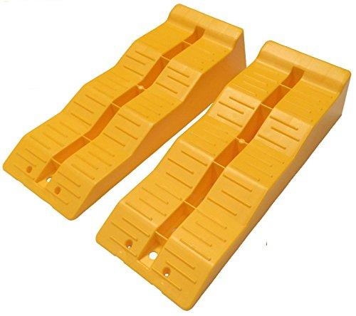 KATSU Tools 161912 Ausgleichsrampe, Rad, Wohnmobil, Van, Wohnwagen, Gelb, 2er-Set