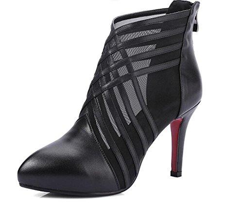 Beauqueen Point-cinghie Scarpin Organza donne casuali del partito del lavoro eleganti sandali Europa Azzurro Bianco Nero formato 34-39 Black