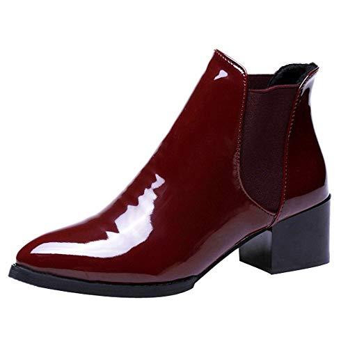 Fantaisiez Style Britannique Botte Femme à Talon épais Haut Cuir Verni Mode Bottines Bande élastique Automne Hiver Chaussure Noir Vin Rouge