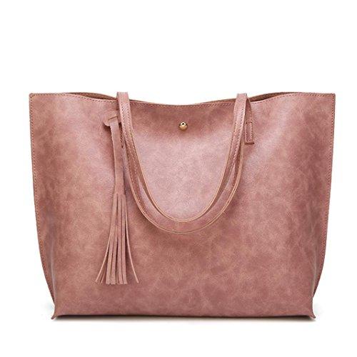 BZLine® Frauen Casual Taschen Frauen Leder Quaste Handtasche Schultertasche Pink