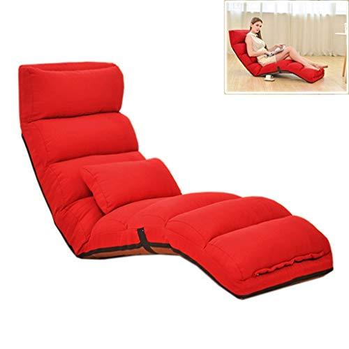 Futon Sofa Couch Bett (Jolly Klappbarer Fauler Sofastuhl Stilvolle Sofa-Couch-Betten Lounge Chair W/Pillow (Farbe : Rot))