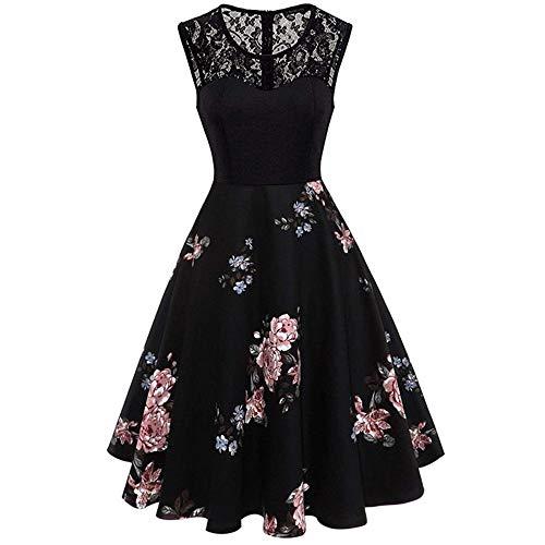 VEMOW Elegante Damen Vintage Bodycon Sleeveless Halter beiläufige Tägliche Abend Party Prom Bow Brautjungfern Swing Dress Faltenrock A-Linie Rock(X4-Schwarz, ()