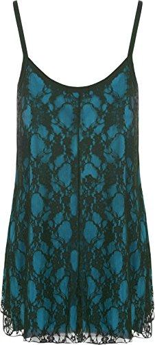 WearAll - grande donna poposh Chiffon Sheer Gefüttert Strappy senza maniche Vest sull'altalena - 12 colori - dimensioni 40-58 Black Turquoise